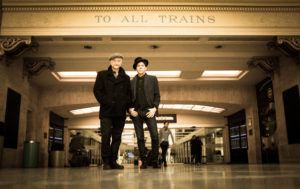 Billy Bragg and Joe Henry train station photo