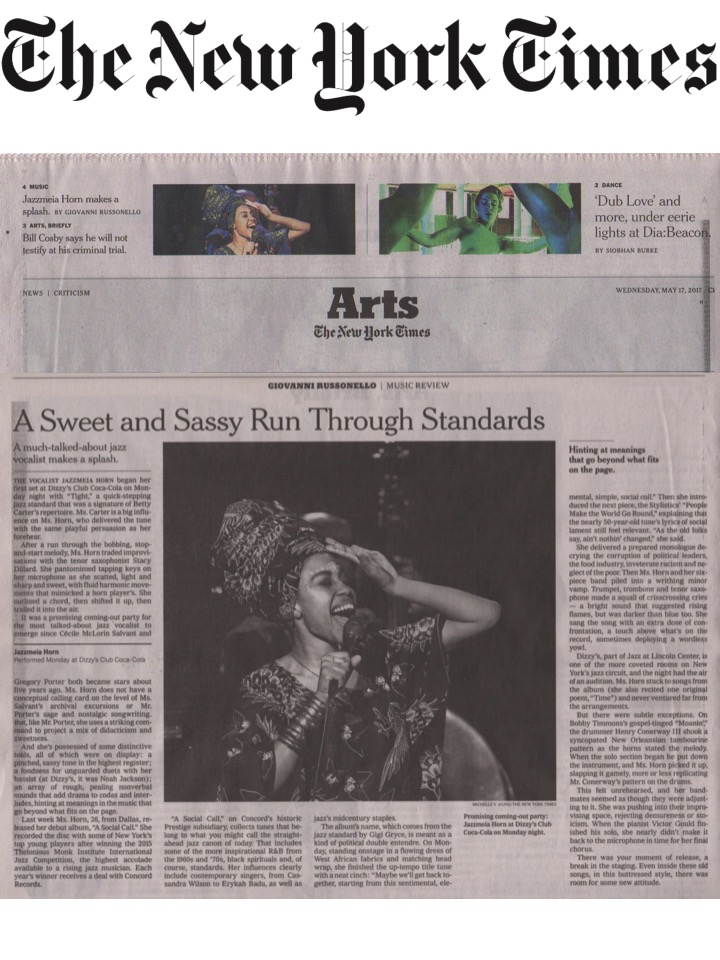 Jazzmeia Horn in The New York Times