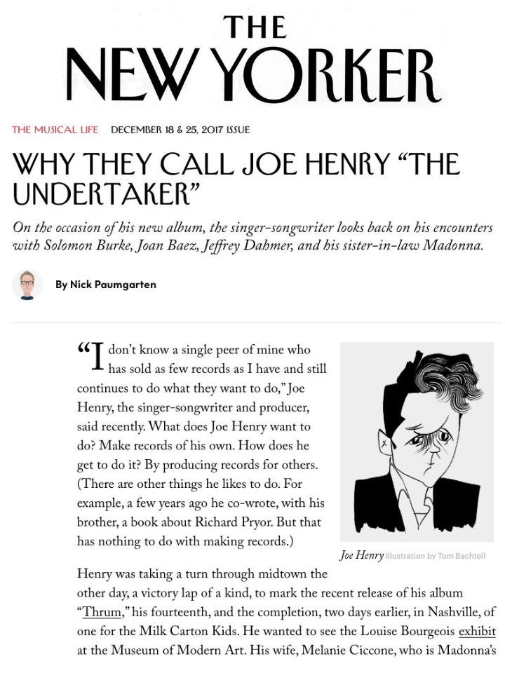 Joe Henry in The New Yorker