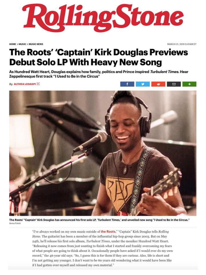 'Captain' Kirk Douglas in Rolling Stone